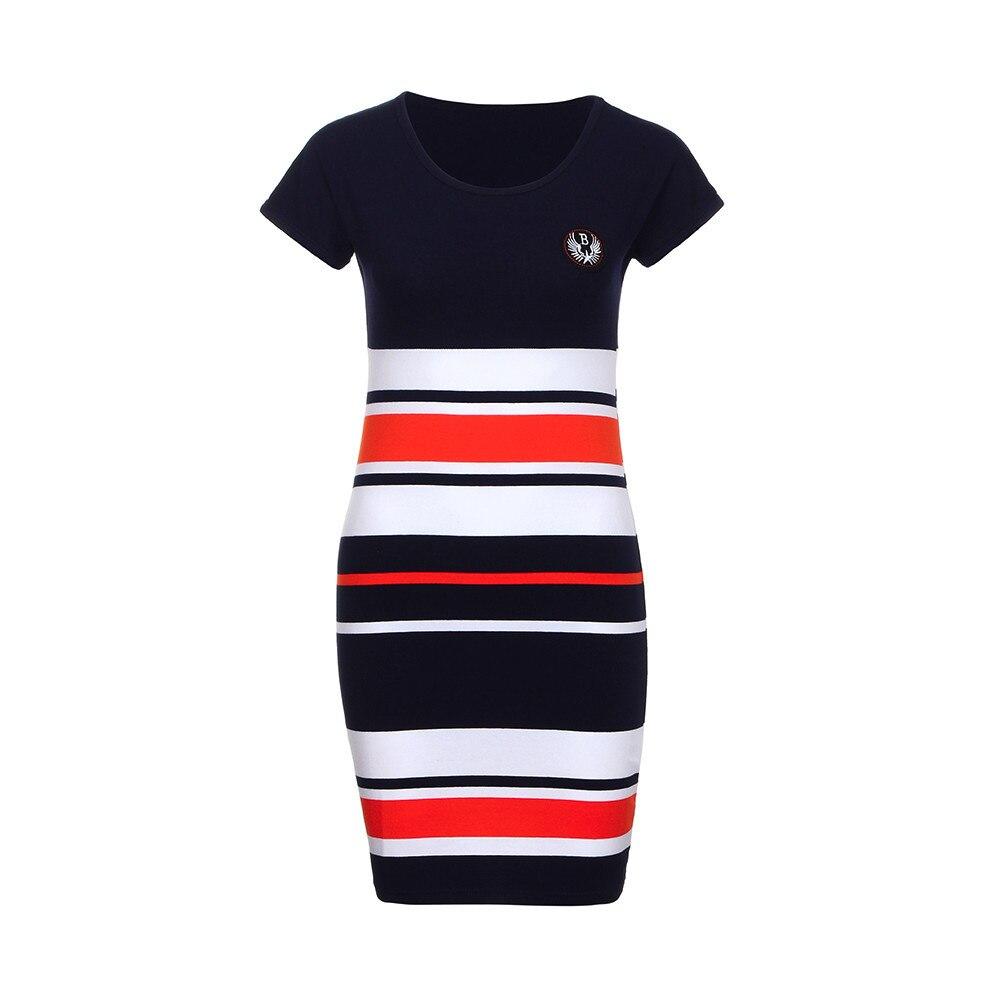 Vestidos verano 2018 Для женщин летнее платье в полоску с буквенным принтом Семья короткий рукав Мини-платья Повседневное Пляжное платье