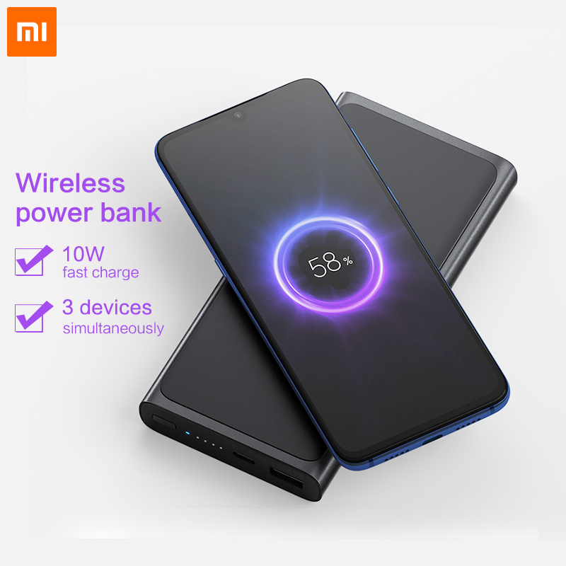 Xiao mi Banco de Potência Sem Fio Qi Carregador Sem Fio Rápida PLM11ZM mi Powerbank 10000 para iphone bateria externa
