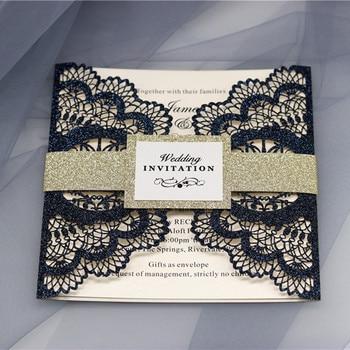 Glittery blue invitations for wedding bridal shower luxury laser cut birds wedding card customized printing 50pcs