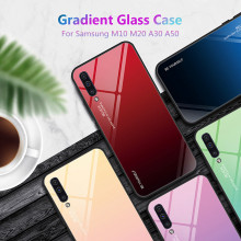 For Samsung Galaxy M20 M10 A30 A50 Case Gradient Tempered Glass Soft Silicone Frame Back Cover M 20 A 30 50