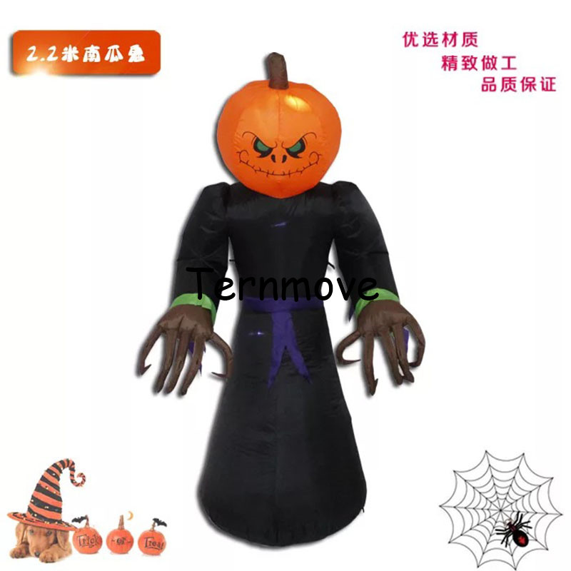 Giant LED Ghost with Pumpkins Head Halloween Inflatable Luminescent Toys Indoor Outdoor Party Terror Props Home Yard DecorationGiant LED Ghost with Pumpkins Head Halloween Inflatable Luminescent Toys Indoor Outdoor Party Terror Props Home Yard Decoration