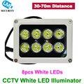 Precio de fábrica cctv seguridad 8 unids lm lámpara de luz blanca led iluminador de infrarrojos ir de visión nocturna para cctv cámara blanco color