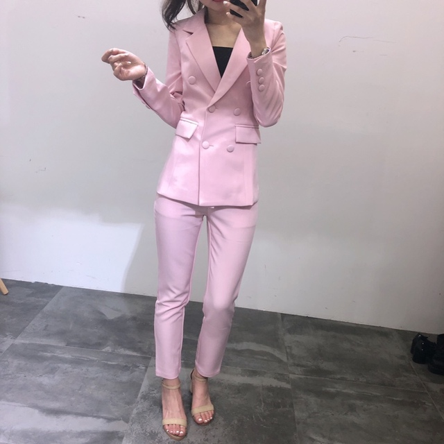 2019 Spring Autumn Ladies Elegant Slim Pink Blazer Suits Set OL Women Business Double Breasted Blazer + Ankle Length Pants Y205