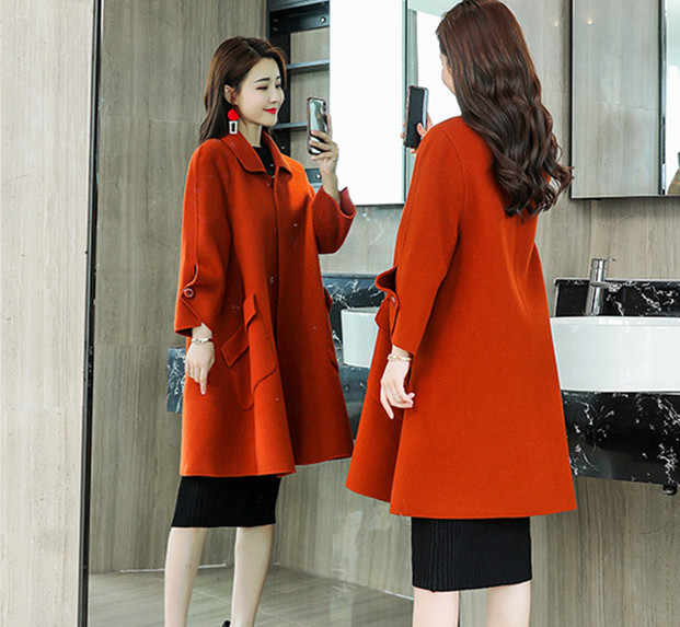 c6a0deb0543 ... Women Cape Coats Winter 2018 Korean Style Warm Fashion Elegant Ladies  Wool Long Coat Plus Size ...