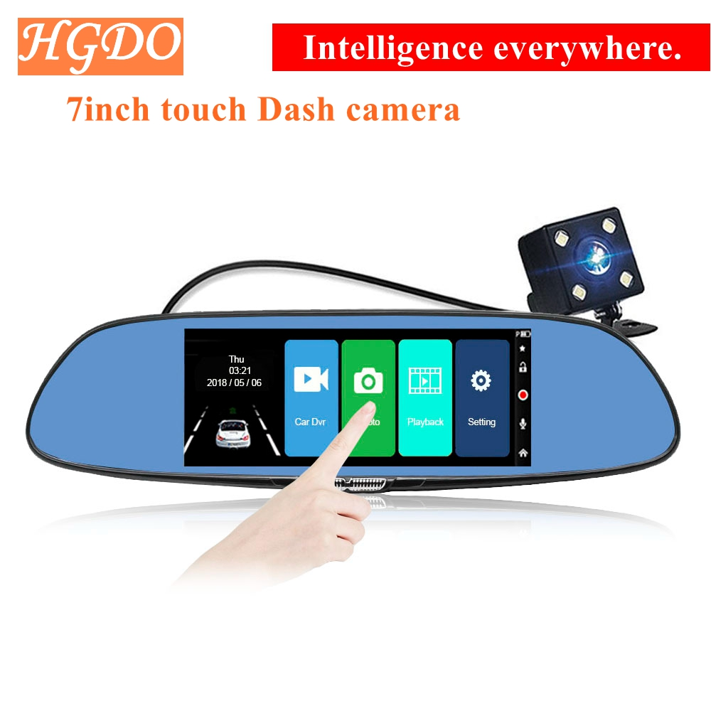 все цены на HGDO Car Dvr Camera Auto 7.0 Inch Full HD 1080P Rearview Mirror Digital Video Recorder Dual Lens Registratory Camcorder Dash cam онлайн