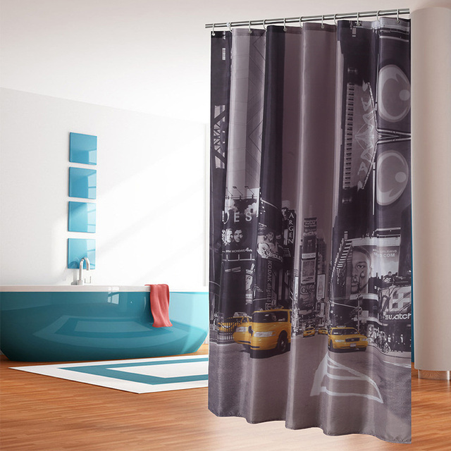 Spectacular City Night Sports Car Skyscrapers Bath Screens Waterproof Shower Curtain YouTube Recommend Curtains In The
