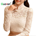 {Guoran } elegant women lace shirt plus size stretch 5XL female black white lace blouses long sleeve hollow out tops ladies