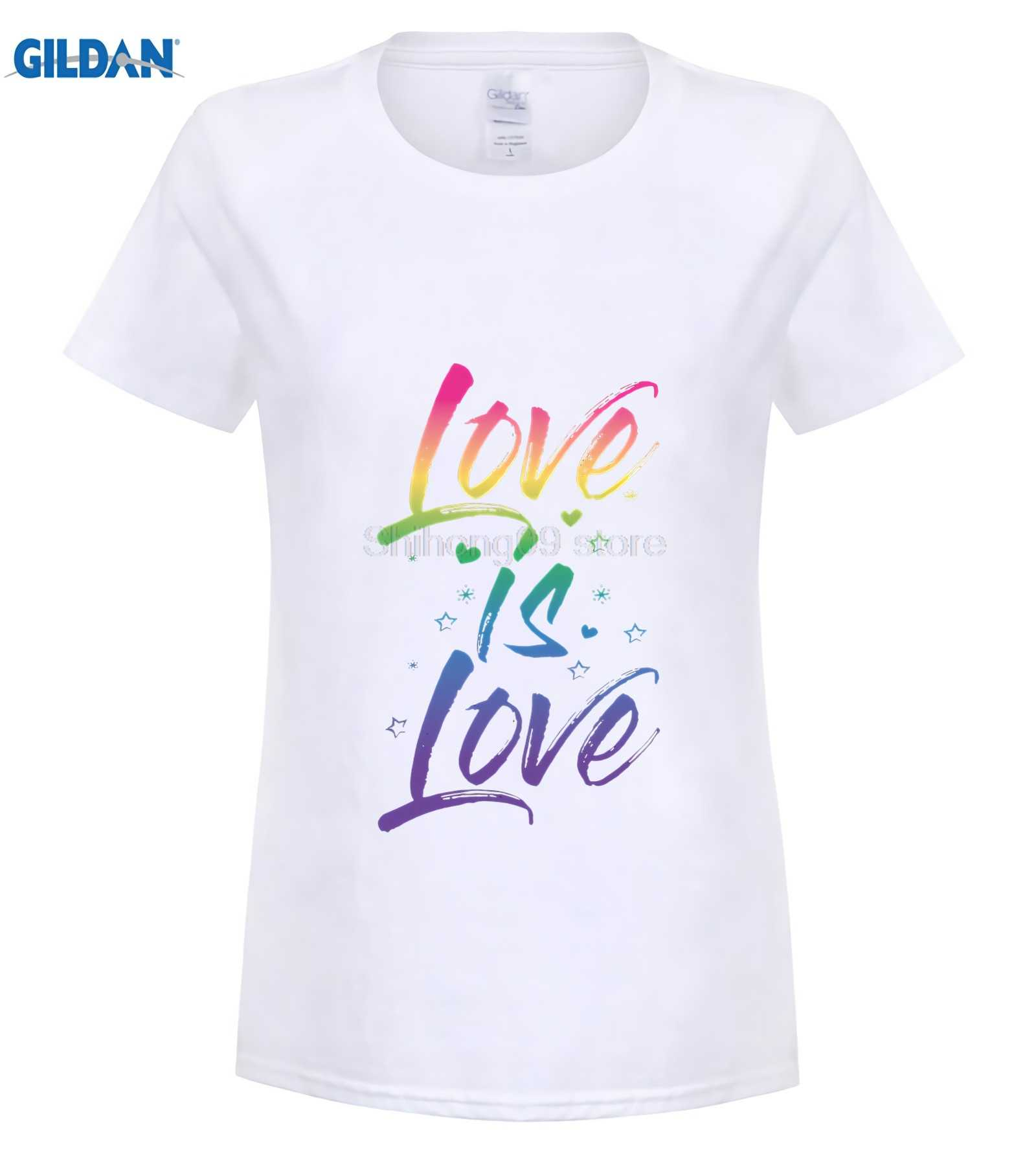 7452d5ee ... GILDAN Gay Pride Shirt Rainbow Script Love is Love LGBT Cute TShirt  Funny men's print t