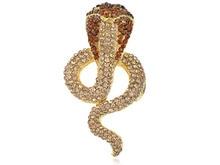 Ahumado Crystal Rhinestone Impresionante Desierto Cobra Serpiente Serpiente Broche [Joyas]