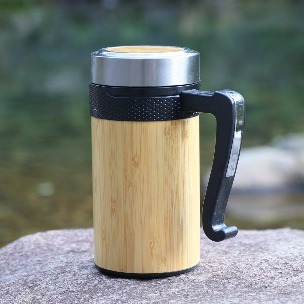 Creative Thermos Cup Hot Mug 450ml Handgrip With Lid Thermal Vacuum Flask For Tea Coffee Stainless Steel Bottle Travel Gift
