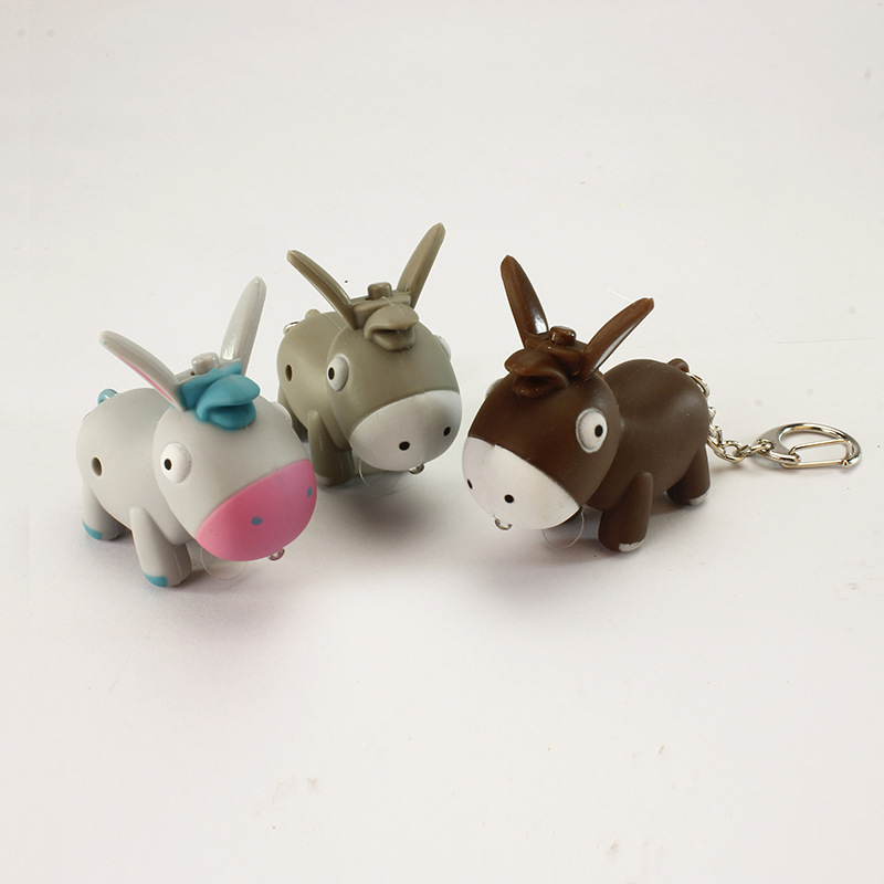Cartoon donkey sound light LED keychain creative pendant gift manufacturers for children wholesale BS - 067