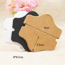 White/brown/black cardboard necklace & earring folded packing card jewelry packing & display tag card 100pcs 8.5*8cm