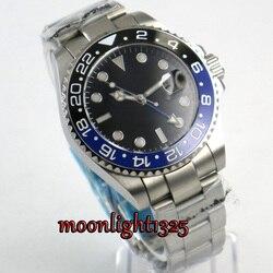 Luksusowa marka zegarki mechaniczne 43mm czarny sterylne dial GMT niebieski czarny ceramiczny Bezel sapphire szkło automatyczne mens watch