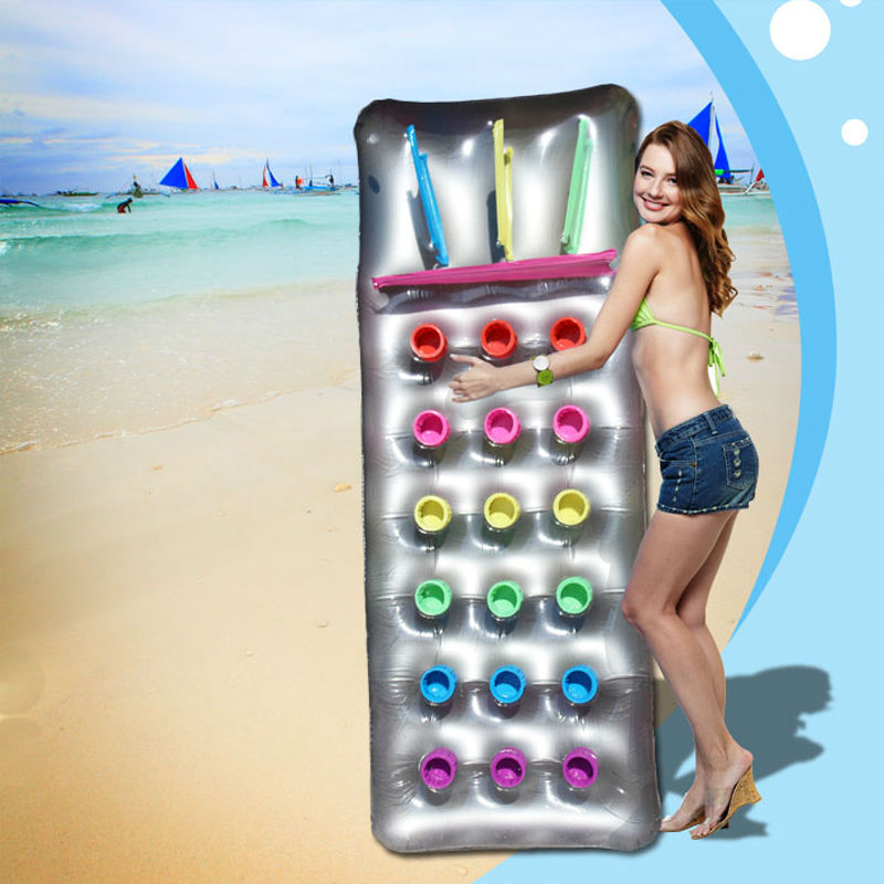 Inflatable Floating Row 18 Holes With Pillow Lounger Swimming Borad Air Mattress Summer Fun Island Safety Pool Float Colchonetas
