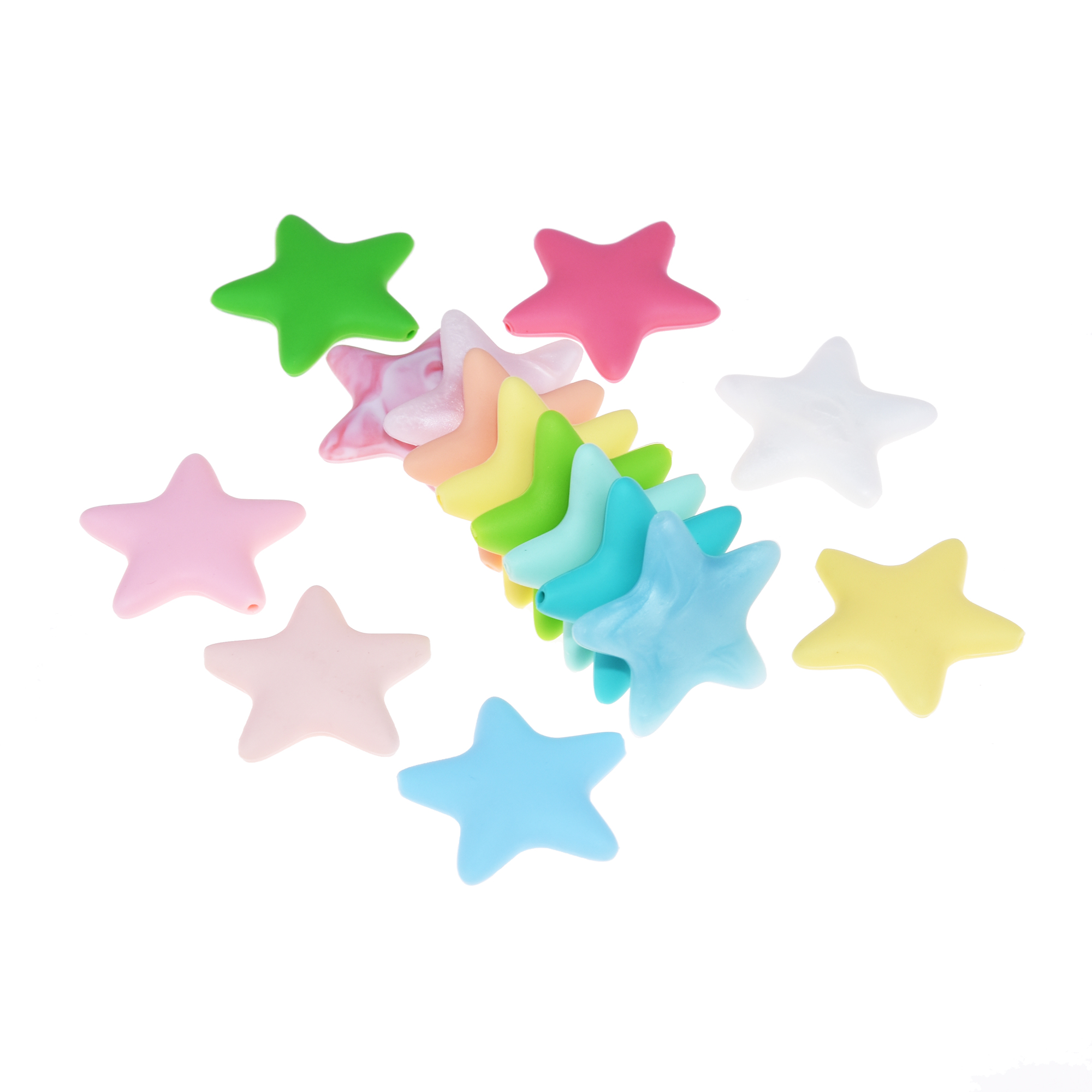 Happyfriends 10 Pieces Star Silicone Beads Baby Teething Loose Beads Teether Food Grade Teether Beads Baby DIY Pacifier Chain