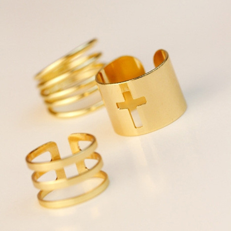 Cross Rings Set Gold Silver Multilayer Hollow Midi Knuckle Ring Open Adjustable Women Mid Finger Jewelry 3 pieces/set