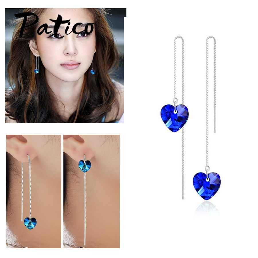 Genuine Real 925 Sterling Silver Wedding Jewelry For Women Long Chain Drop Earrings With Blue CZ Crystal Party Ear Gifts