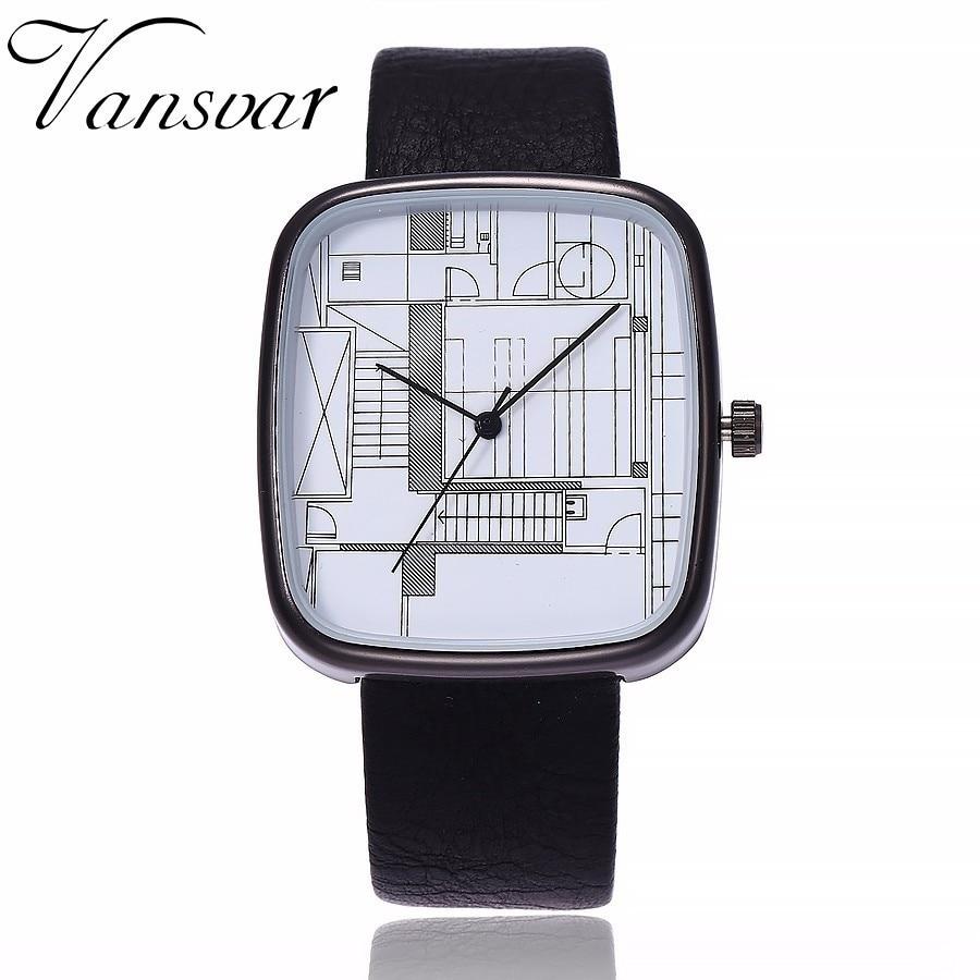 Vansvar Brand Square Shape Watch Women Men Quartz Watch Architectural Aesthetics Style Watch Leather Strap Watch Montre Femme
