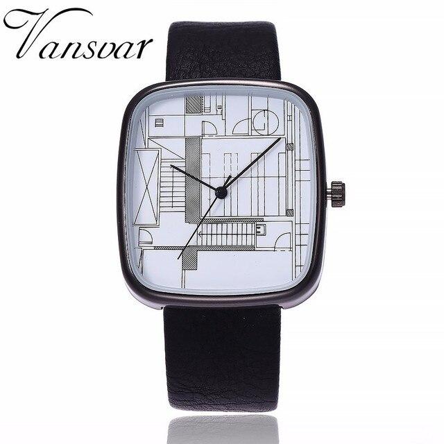 Vansvar Brand Square Shape Watch Women Men Quartz Watch Architectural Aesthetics