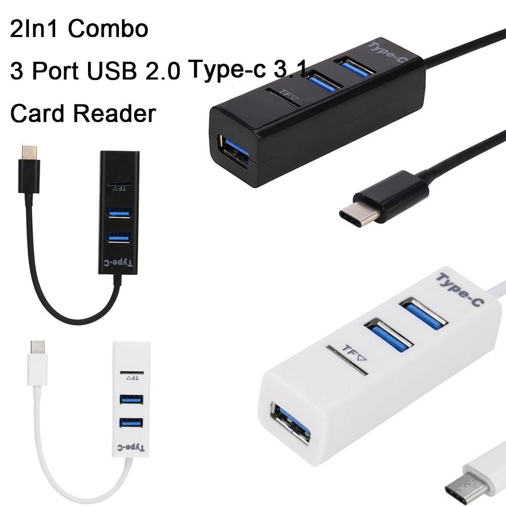 2 в 1 тип-c OTG USB 2,0 концентратор разветвитель комбо 3 порта и SD/TF кардридер usb концентратор для ноутбуков Аксессуары 25