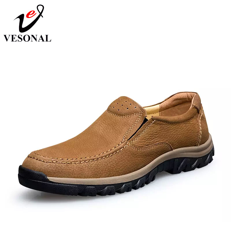 VESONAL Spring Genuine Leather Man Casual Shoes Men Loafers Footwear Soft Rubber Non Slip Classic Male