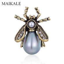 MAIKALE Vintage Honey Bee Spilla Spilli Perla Insetto Spille per le Donne Vestiti Per Bambini Accessori Del Sacchetto Housefly Broche Regali di Fascino di(China)