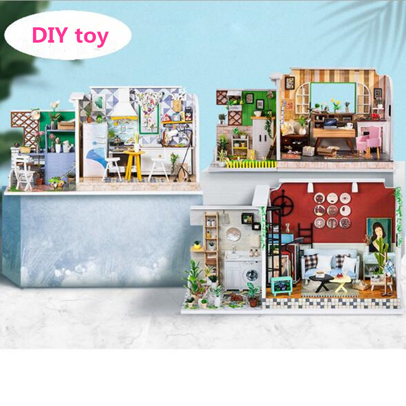 DIY House Miniature with Furniture wooden Model Building Blocks Toys for Children Casa De BonecaDIY House Miniature with Furniture wooden Model Building Blocks Toys for Children Casa De Boneca