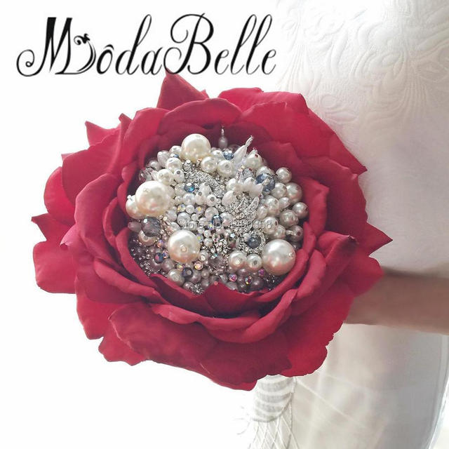 wedding bouquets with bling custom wedding bouquet pearls artificial flowers ivory 8537