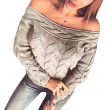 Laipelar Sweater Women Sexy Off Shoulder Pullover Autumn Winter Warm Pull Femme Hiver  Knitted Jumper Tops for