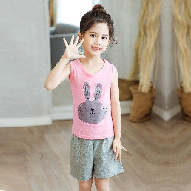 SAILEROAD Summer Cute Cartoon Pajamas Sets Kawaii Rabbit Pyjamas for Girls Pijama Infantil pyjamas kids Baby Girls Vest Clothes
