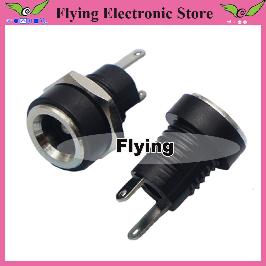 10 Copper 5.5mm x2.1mm DC Power Jack Socket Female Panel Mount Adapter Connector