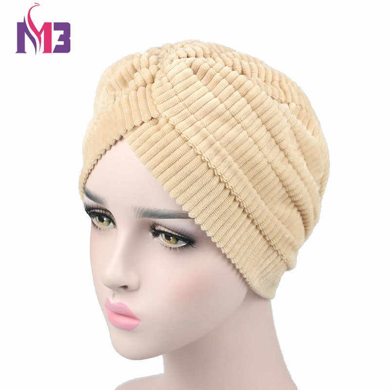 New Fashion Women Coral Fleece Velvet Pleated Turban Headband Chemo Headwear Muslim Hijab Turbante Hat