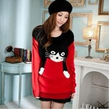 Fashion Winter Clothing Round Neck and Long Sections Wild Loose Sweater Cute Cartoon Cat Es1044