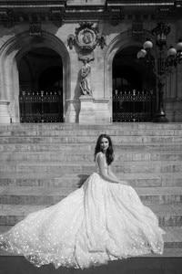 Image 3 - LORIE 2019 Unique Wedding Dress A Line Star Applique Crystals Dresses V Neck Full Sequins Elegant Sleeveless vestidos de noiva