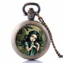 Antique Bronze Raven Girl Pocket Watch Necklace -Shadow Wings Pendant Steampunk Men Women Fob Gift Xmas