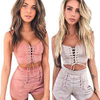 Hirigin 2 Piece Set Women 2018 Tracksuit Sexy Women Crop Top Set Sexy Bandage Outfits Women Clothes Tank Tops + Hot Pants Shorts
