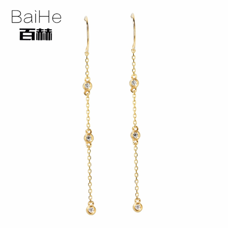 BAIHE Solid 14K Yellow Gold 0.06ct Round H/SI 100% Genuine Natural Diamonds Engagement Trendy Fine Jewelry Unique Stud Earrings solid 18k rose gold unique stud earrings for women si h 100% natural diamonds earrings unique trendy party fine jewelry