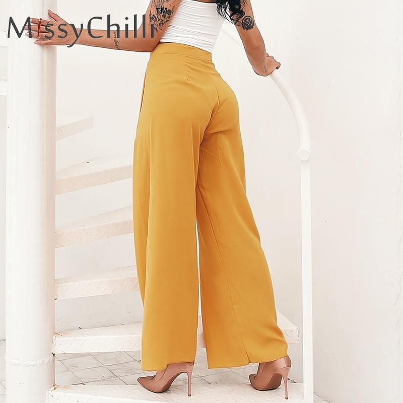 MissyChilli White chiffon high waist   pants   Women casual autumn loose long flare   pants   trousers Elegant   wide     leg     pants   bottoms
