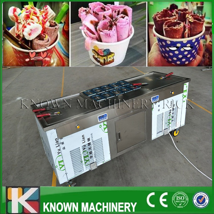 Double Eleven Festival Double Square Pans Fried Ice Cream Make Machine With Temperature Control On Promotion(free Ship)
