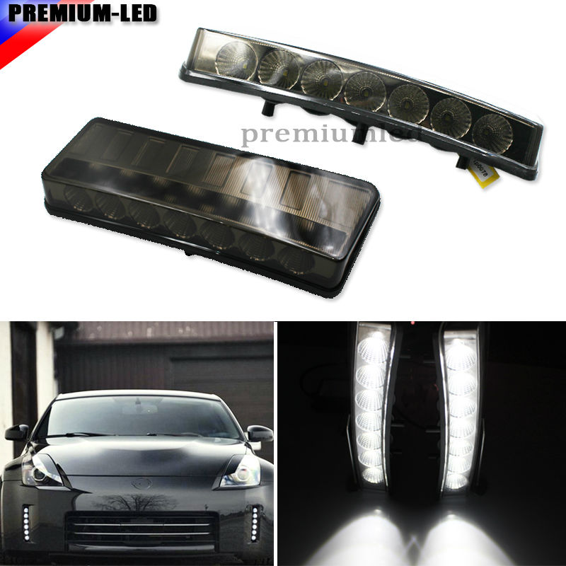 Smoked Lens Direct Fit High Power 7-LED Front Bumper Reflector LED Daytime Running Lights For 2003-2005 Nissan 350Z for opel astra h gtc 2005 15 h11 wiring harness sockets wire connector switch 2 fog lights drl front bumper 5d lens led lamp