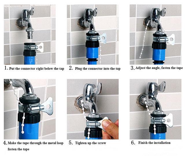 vente chaude jardin tuyau d 39 eau du robinet connecteurs adaptateur universel robinet pour douche. Black Bedroom Furniture Sets. Home Design Ideas