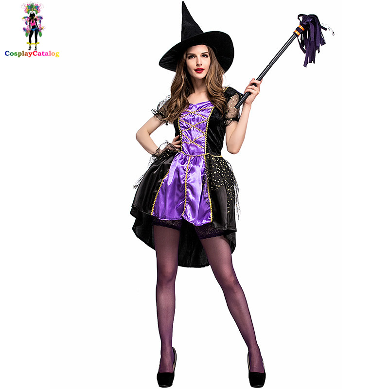 New Halloween Women Costume Purple Witch Woman Dresses with Hat Carnival Cosplay Costumes Size M/L/XL Sorceress Clothes