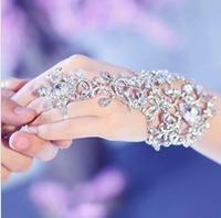 luxury wedding Bridal party prom Jewelry Crystal Rhinestone bracelet with finger wristband Bracelet jb050