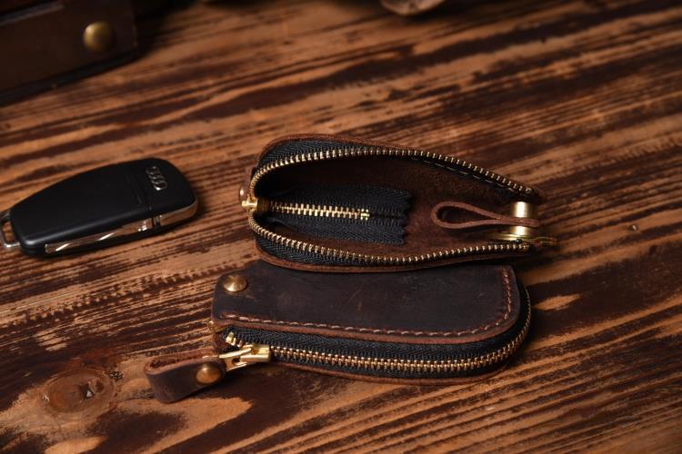 Image 5 - Vintage Genuine Leather Car key holder Men Leather Key wallet Keychain men housekeeper women Car key case Bag key organizerwallet keychainleather car key holderkey wallet -