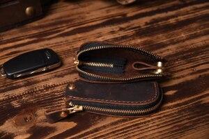 Image 5 - Vintage Genuine Leather Car key holder Men Leather Key wallet Keychain men housekeeper women Car key case Bag key organizer
