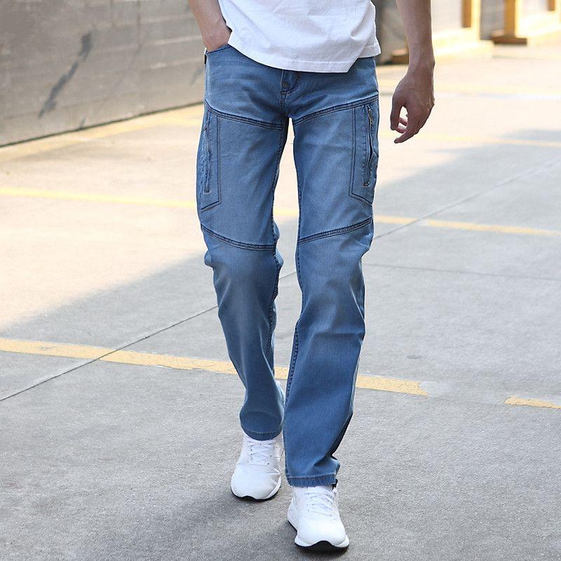 Men Multi Pocket Cargo Jean Pants Hip Hop Loose Denim Pants Straight More Pocket Jeans Plus Size Motorcycle Denim Joggers 110403