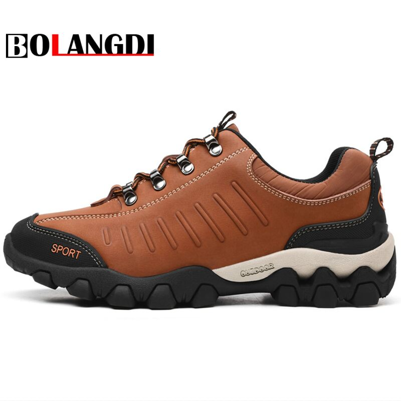 Bolangdi New Autumn Winter Men's Outdoor Sport Tactical Shoes Men Leather Hiking Shoes Anti-skid Sneaker Climbing Trekking Shoes bolangdi 2017 new anti slip outdoor men hiking shoes high quality trekking camping shoes breathable lace up brand sport sneakers