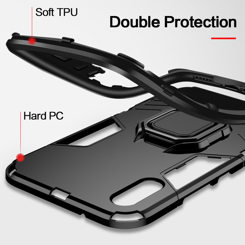 4 In 1 Aluminum Bumper Case For iPhone With Magnetic Finger Phone Standing Case 2