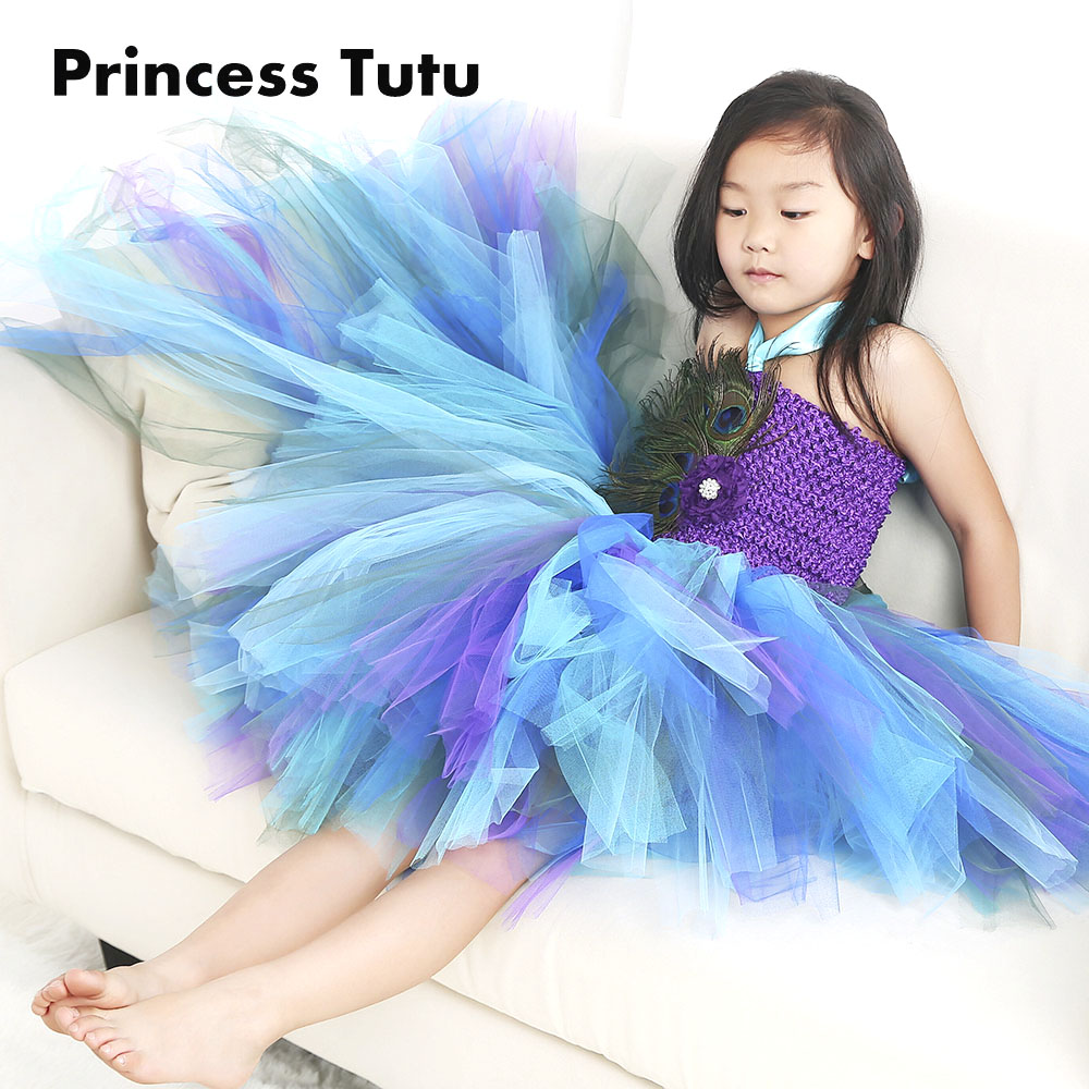 Free Shipping Purple Girl Puffy Feather Peacock Tutu Dress Children Kids Knee Length noble Elegant Flower Girls Pearls Dresses free shipping fishing float damocles buoy peacock feather buoy haneda 835 14 peacock hard fishing tackle