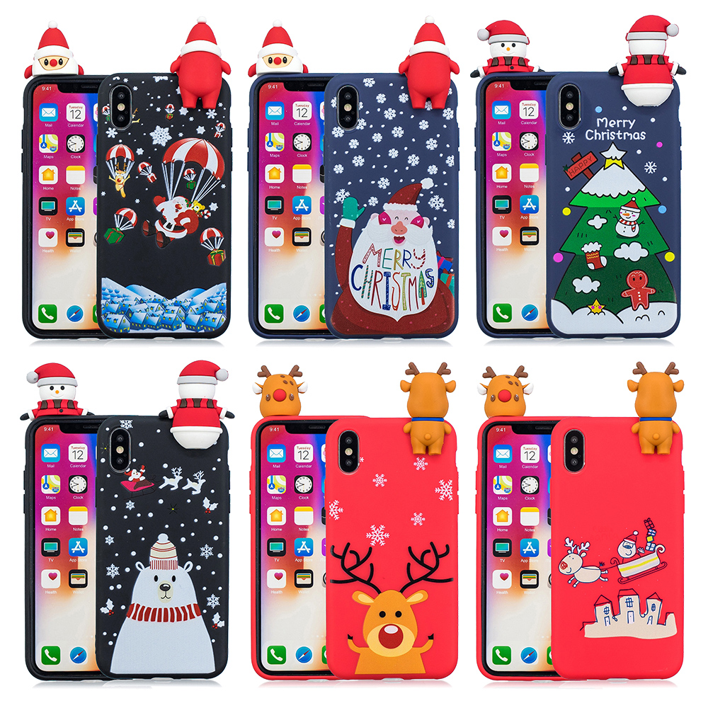 30/Pcs Christmas Gift For Iphone XS Max X XR For Iphone 6 6S Plus For Iphone 7 8 Plus 5 5S 3D Soft Phone Case Cover Fundas Coque